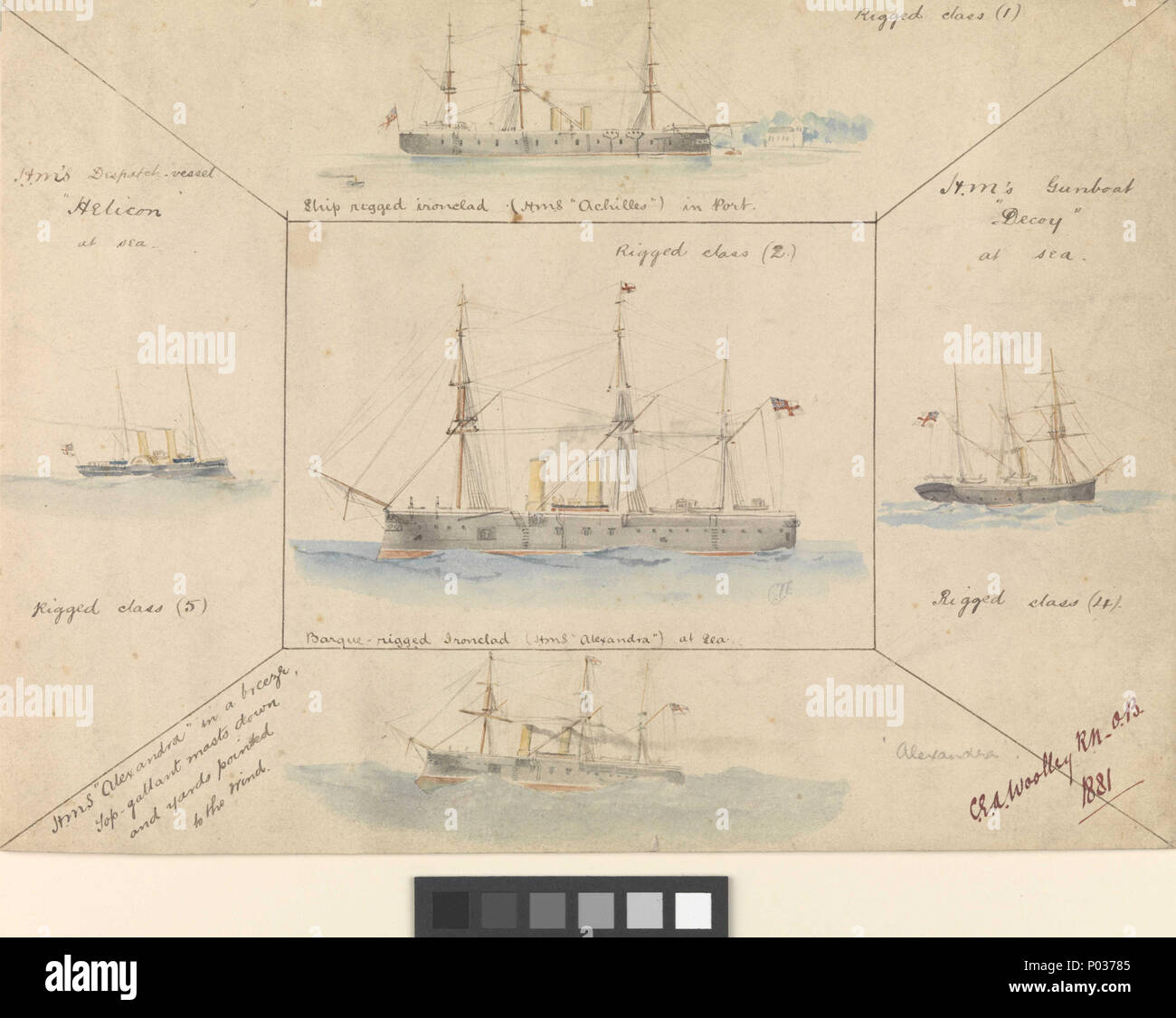 .  English: 1. Barque-rigged ironclad (H.M.S. Alexandra at sea). 2. H.M's Gunboat Decoy at sea. 3. HMS Alexandra in a breeze. 4. H.M's Despatch-vessel Helicon at sea. 5. Ship rigged ironclad (HMS Achilles in port)Signed by artist. 1. Barque-rigged ironclad (H.M.S. Alexandra at sea). 2. H.M's Gunboat Decoy at sea. 3. HMS Alexandra in a breeze. 4. H.M's Despatch-vessel Helicon at sea. 5. Ship rigged ironclad (HMS Achilles in port)  . 1881. Woolley, C E A [artist] 14 1. Barque-rigged ironclad (H.M.S. Alexandra at sea). 2. H.M's Gunboat Decoy at sea. 3. HMS Alexandra in a breeze. 4. H.M's Despatch Stock Photo