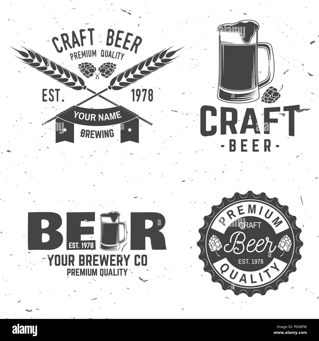 Set of Craft Beer badges with hops and bear. Vector illustration. Vintage design for bar, pub and restaurant business. Coaster for beer. - Stock Vector