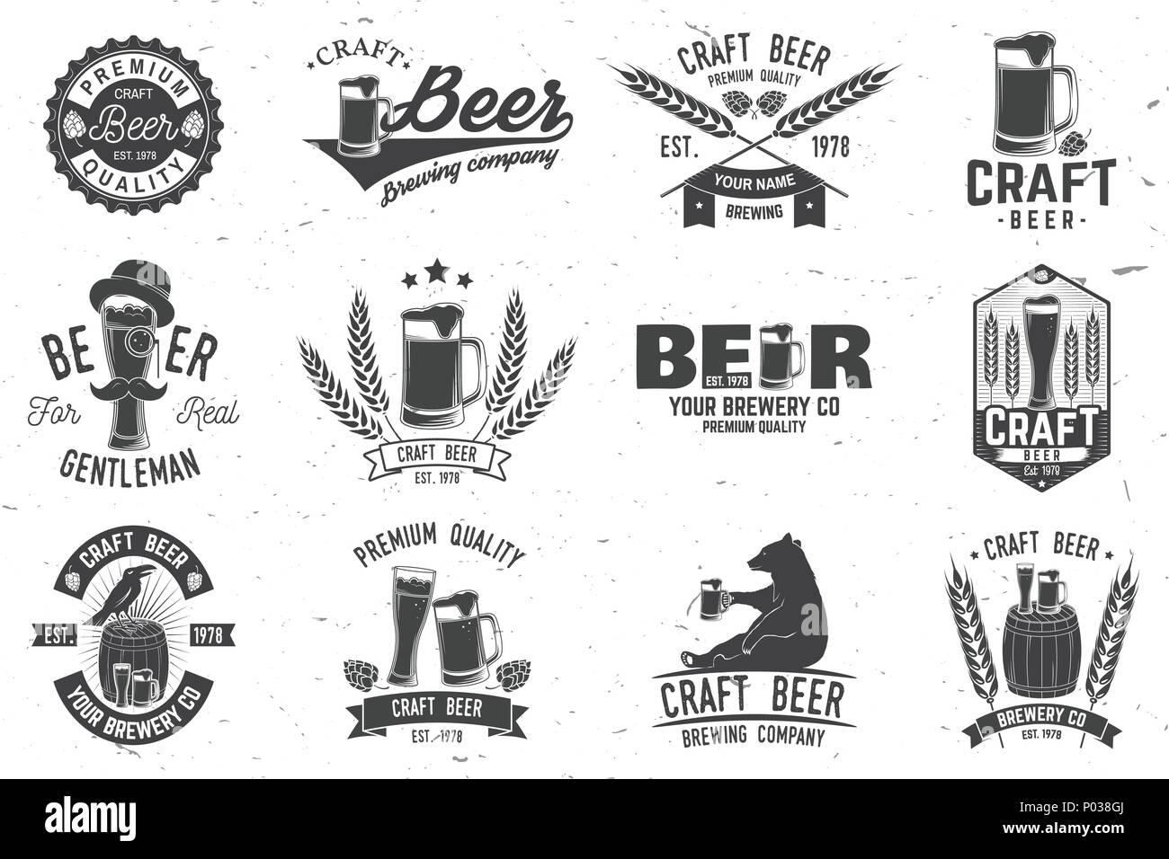 Set of Craft Beer badges with hops, raven and bear. Vector illustration. Vintage design for bar, pub and restaurant business. Coaster for beer. - Stock Vector