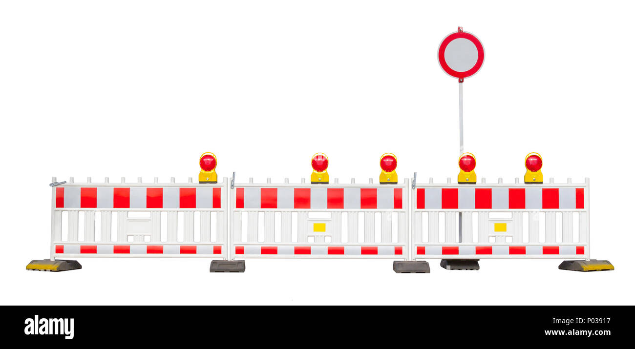 barrier in white back incuding the 'all vehicles prohibited' road sign - Stock Image