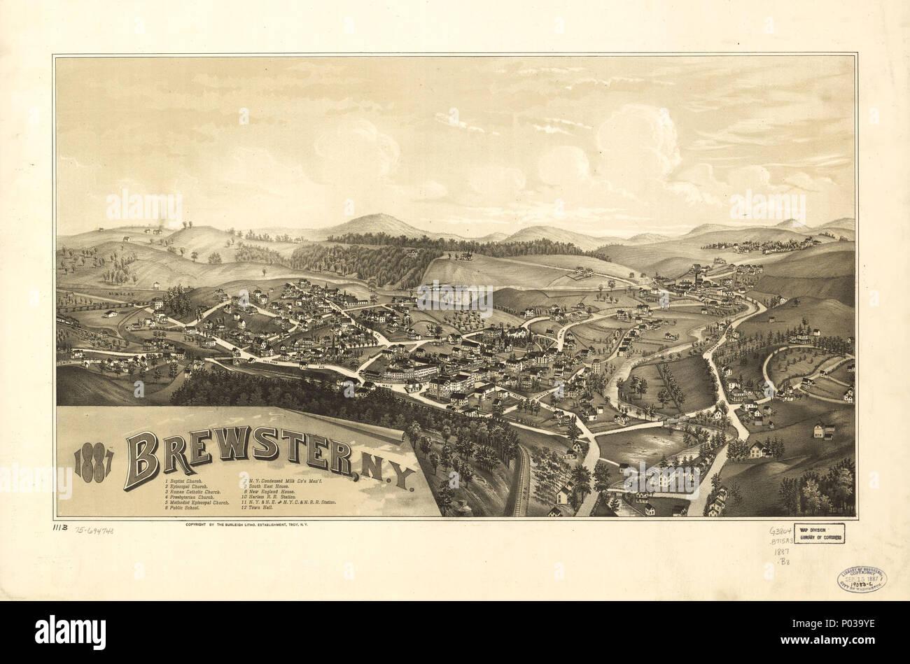 20x28 Millerton New York 1887 Historic Panoramic Town Map