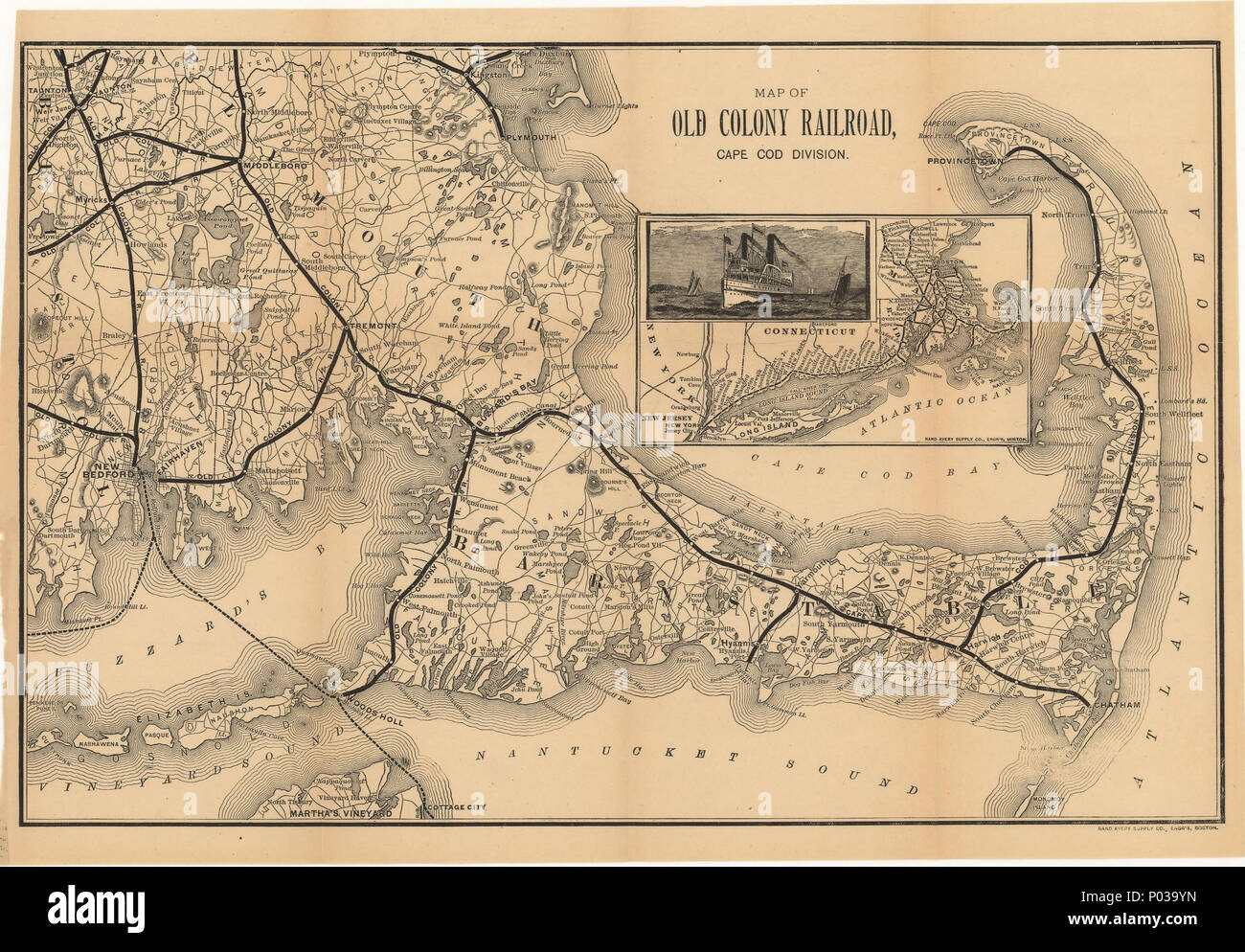 English: 1888 map of the Old Colony Railroad\'s Cape Cod ...