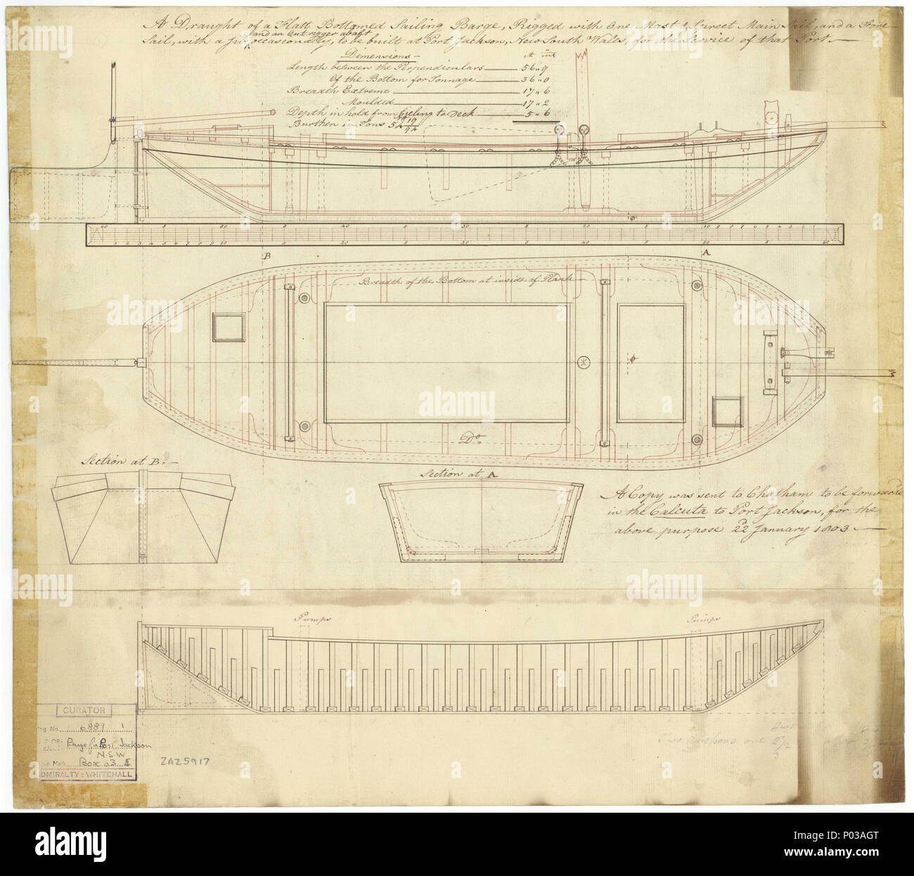 English: 56ft Flat-bottomed Sailing Barge (1803) Scale: 1:48. Plan ...