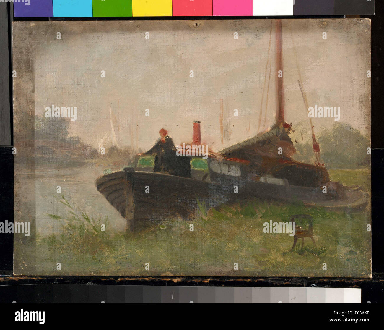 .  English: A barge Oil painting by John Fraser, entitled 'A Barge'. A barge  . Late 19th century - mid 20th century. John Fraser 23 A barge RMG BHC0630 - Stock Image