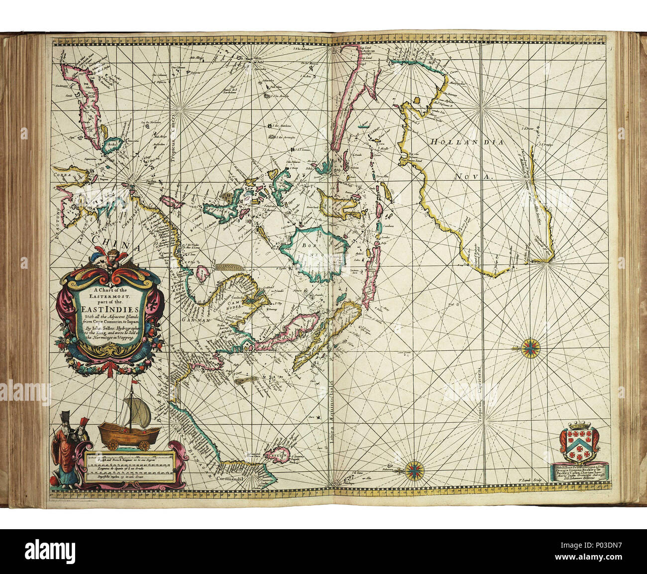 .  English: A chart of the easternmost part of the East Indies with all the adjacent islands from Cape Comorin to JapanBound sheet. Hand col engr. Scale: [ca. 1:17 000 000 (bar)]. Cartographic Note: North at 270 degrees. Borders graduated for latitude. Plane chart. Bar scales in English and French leagues, Spanish leagues and Dutch miles. Additional Places: Indian Ocean, Australia. Contents Note: Title decorated with a Chinese land yacht. Chart dedicated to Lord George Berkeley, privy councillor, member of the council of trade and the East India Company. Atlas maritimus: or the sea-atlas; bei - Stock Image