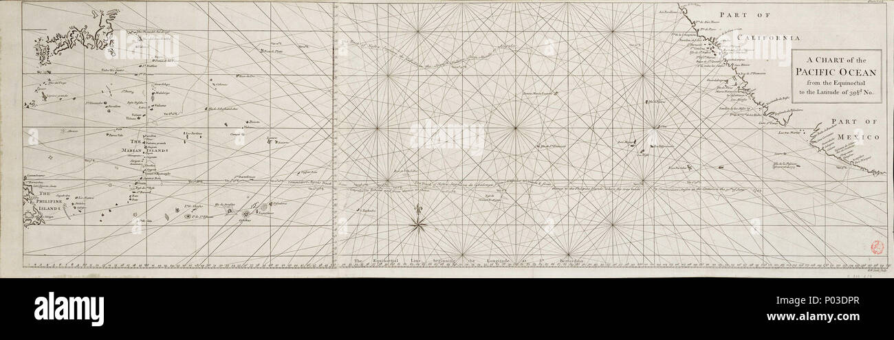a4f3a0bbb . English  A chart of the Pacific Ocean from the equinoctial to the  latitude of 39 1 2d. No.Single sheet. Engr. Medium  2 leaves