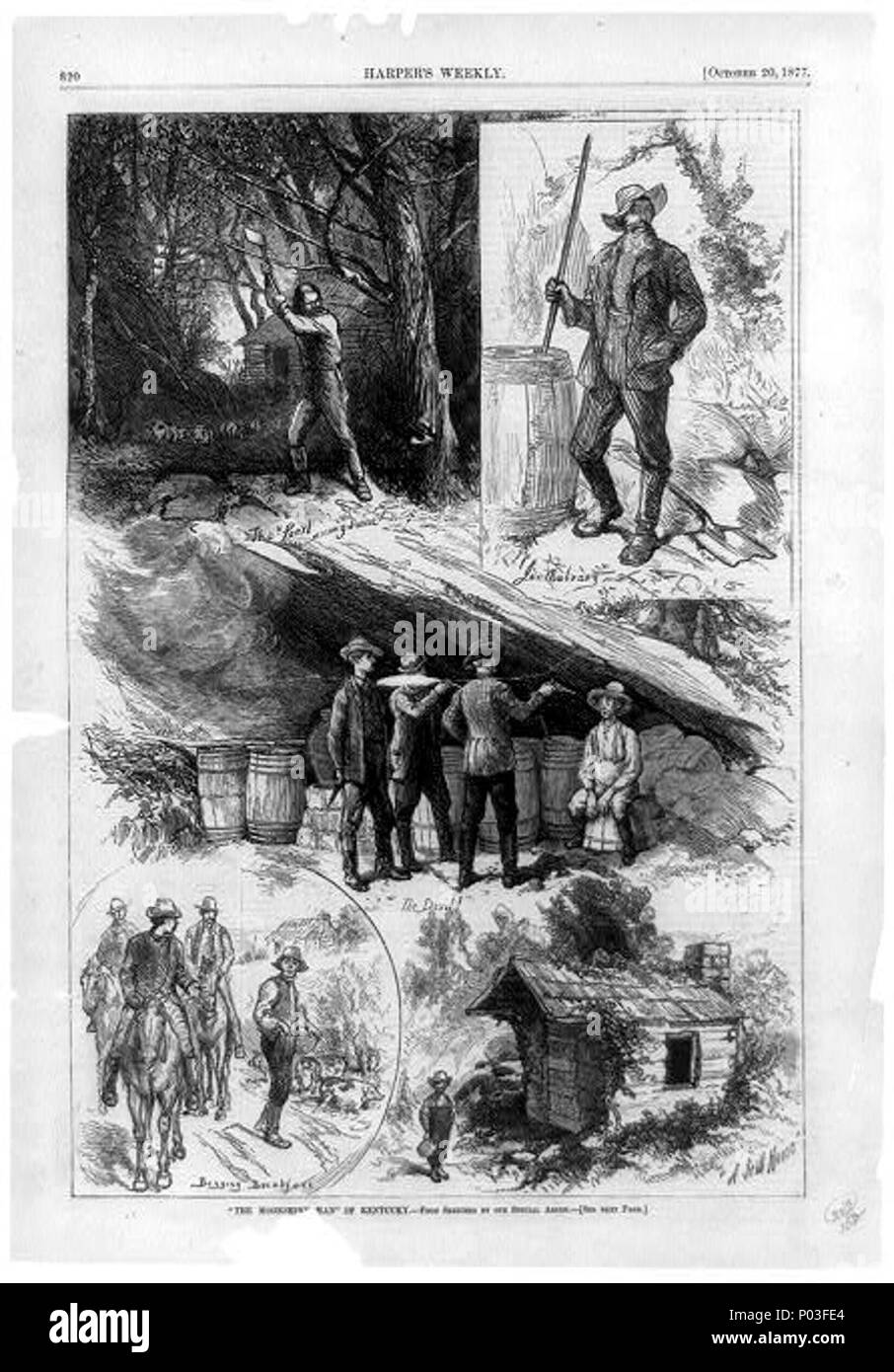 The moonshine man of Kentucky (Composite of 5 scenes of moonshining showing man cutting down tree, man mixing ingredients, moonshiner held captive by 3 men, 3 men on horseback begging for L 0019 - Stock Image