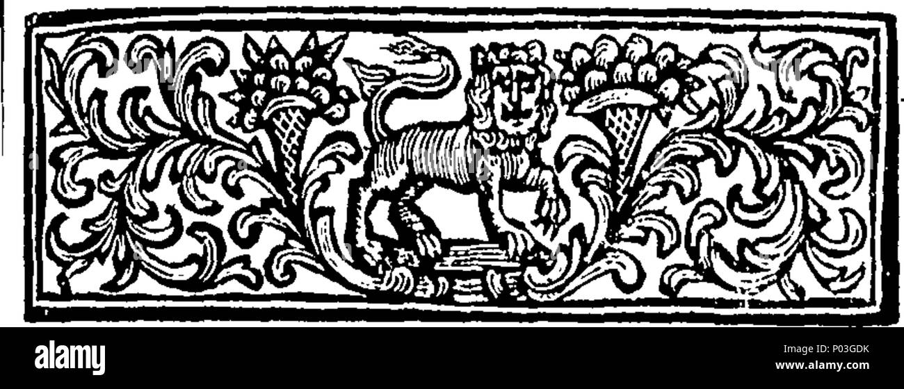 . English: Fleuron from book: A collection of select novels, Written Originally in Castillian, by Don Miguel Cervantes Saavedra, Author of the History of Don Quixote de la Mancha: In the Territory of the Imperial City of Toledo, in New Castle. Made English by Harry Bridges, Esq; Under the Protection of His Excellency, John, Lord Carteret, Lord Lieutenant of the Kingdom of Ireland. 46 A collection of select novels Fleuron T059477-1 Stock Photo