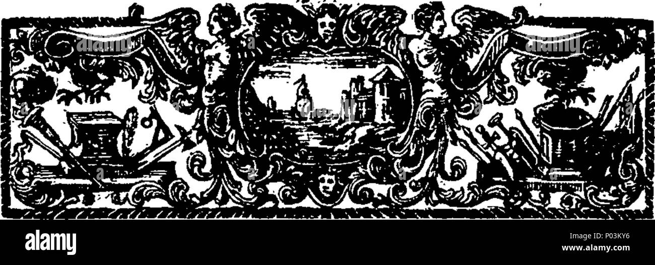 . English: Fleuron from book: A collection of very valuable and scarce pieces relating to the last plague in the year 1665. Viz. I. Orders drawn up and published by the Lord Mayor and Aldermen of the City of London, to prevent the spreading of the Infection. II. An Account of the first Rise, Progress, Symptoms and Cure of the Plague, being the Substance of a Letter from Doctor Hodges to a Person of Quality. III. Necessary Directions for the Prevention and Cure of the Plague, with divers Remedies of small Charge, by the College of Physicians. IV. Reflections on the Weekly Bills of Mortality, so - Stock Image