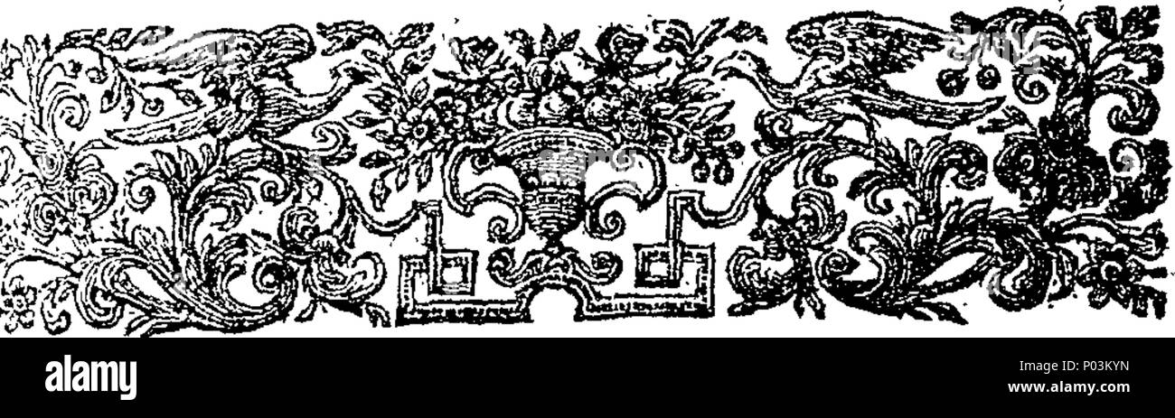 . English: Fleuron from book: A collection of very valuable and scarce pieces relating to the last plague in the year 1665. Viz. I. Orders drawn up and published by the Lord Mayor and Aldermen of the City of London, to prevent the spreading of the Infection. II. An Account of the first Rise, Progress, Symptoms and Cure of the Plague, being the Substance of a Letter from Doctor Hodges to a Person of Quality. III. Necessary Directions for the Prevention and Cure of the Plague, with divers Remediis of small Charge, by the College of Physicians. IV. Reflections on the Weekly Bills of Mortality, so - Stock Image