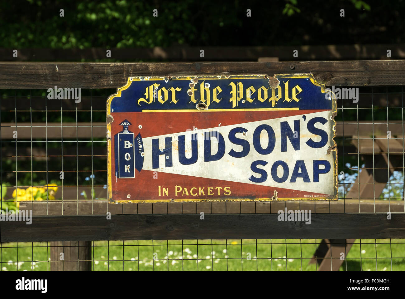 Hudson's Soap: original, outside advertising sign, now preserved, on display at a station on the Severn Valley Railway heritage line. - Stock Image