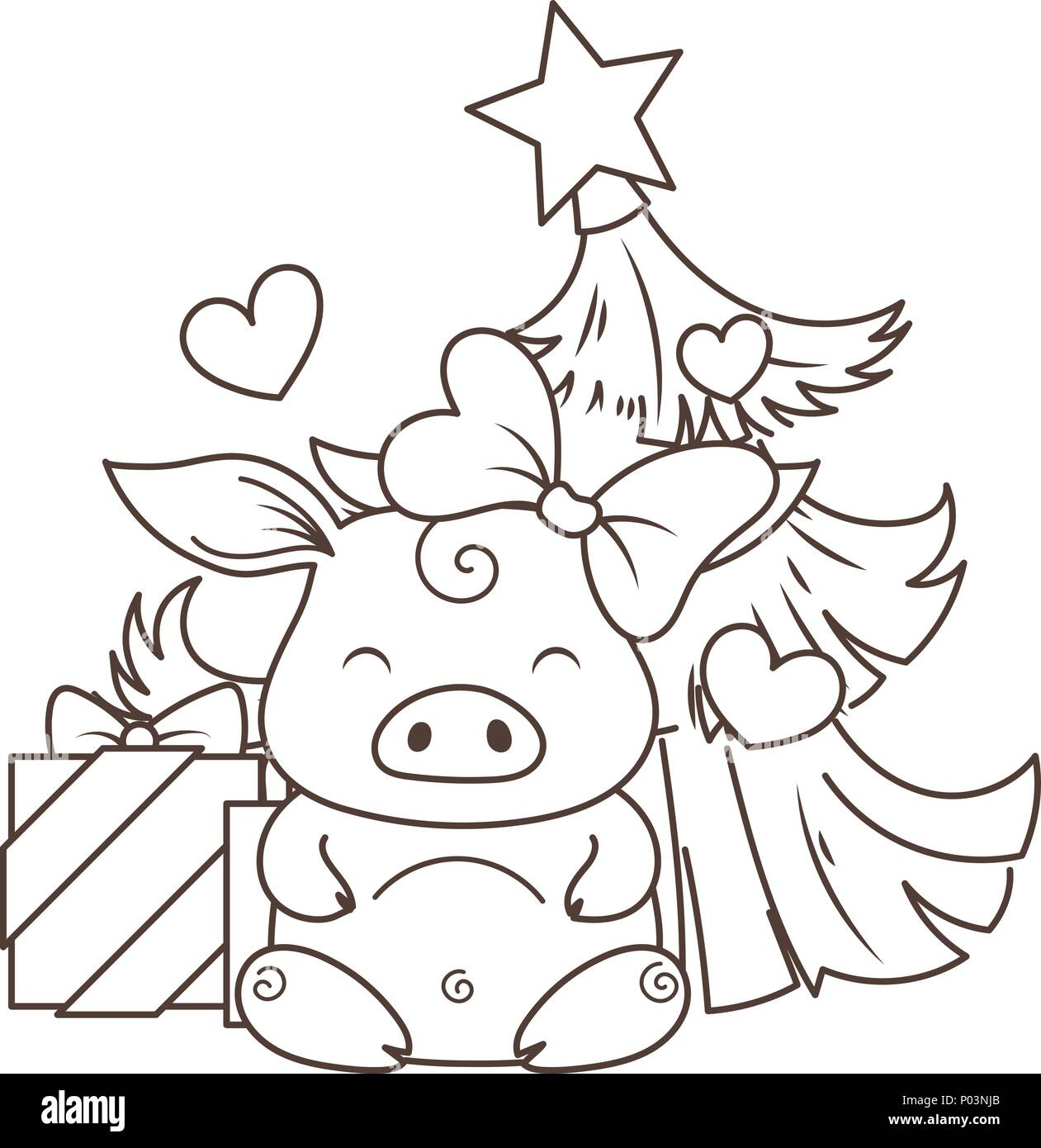 Cute cartoon pig in love with holiday