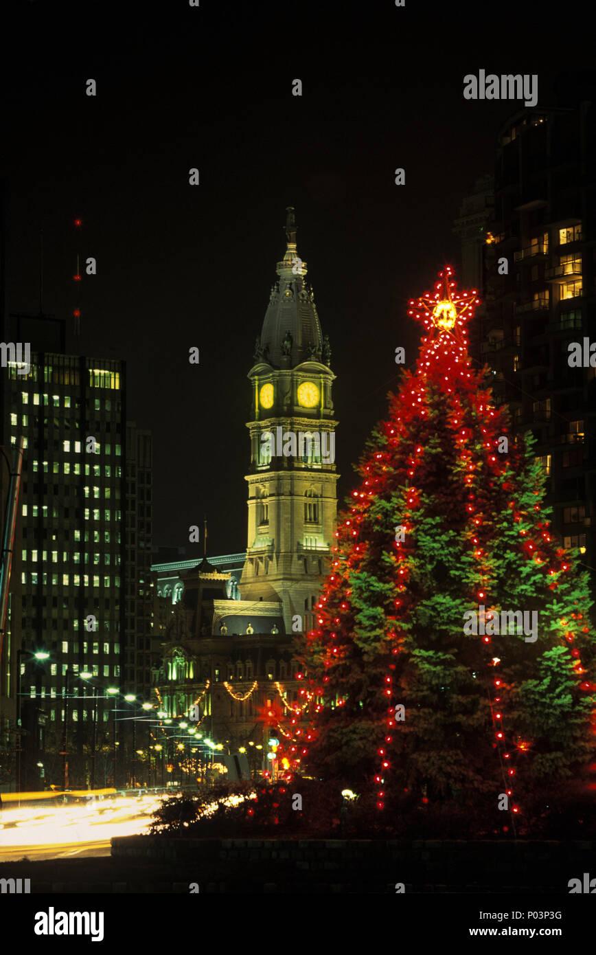 1992 historical christmas tree lights city hall philadelphia pennsylvania usa