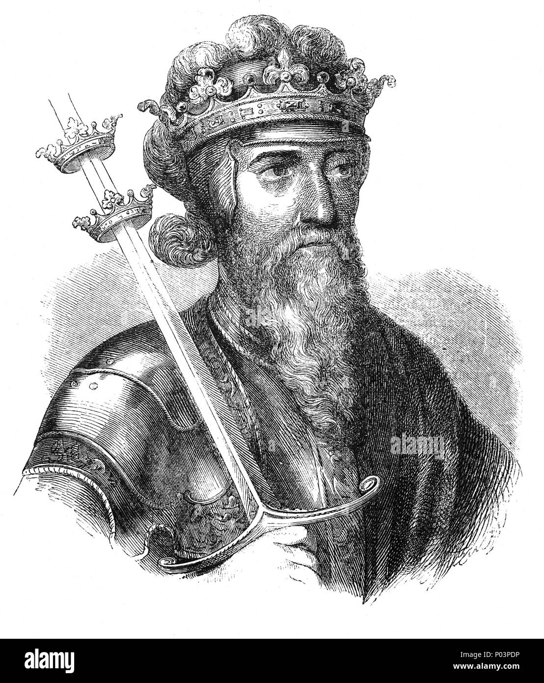 A portrait of Edward III (1312–1377), King of England and Lord of Ireland from January 1327 until his death; he is noted for his military success and for restoring royal authority after the disastrous and unorthodox reign of his father, Edward II. Edward III transformed the Kingdom of England into one of the most formidable military powers in Europe. His long reign of 50 years was the second longest in medieval England and saw vital developments in legislation and government—in particular the evolution of the English parliament—as well as the ravages of the Black Death. - Stock Image