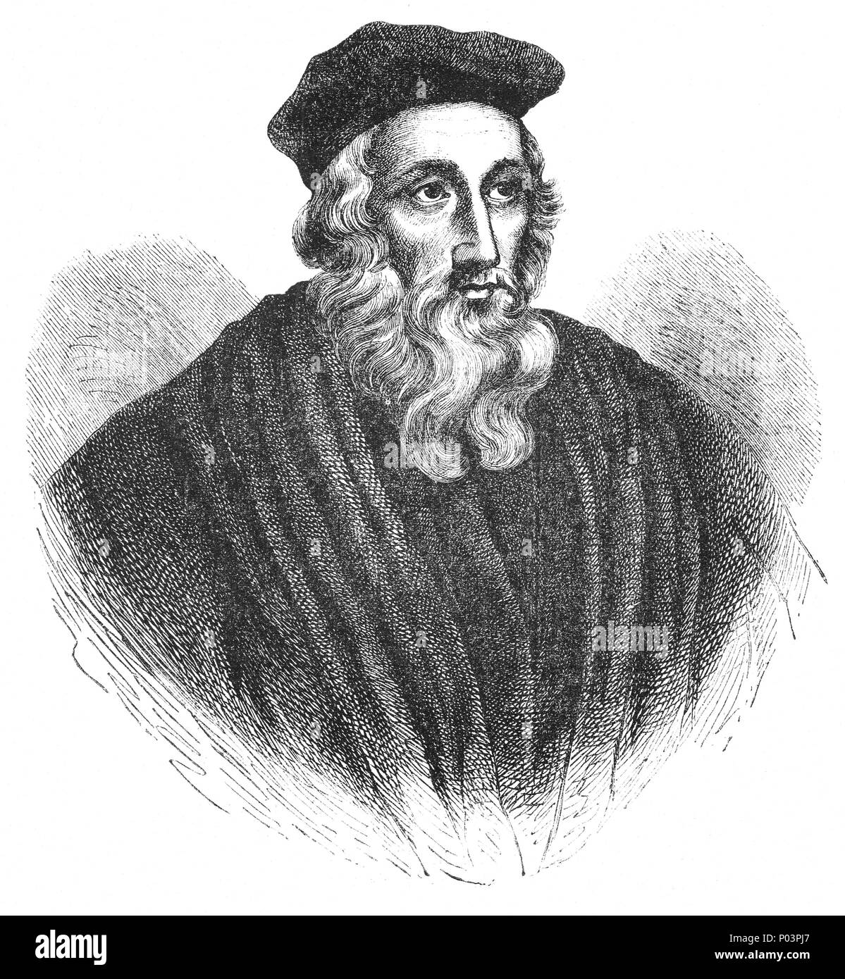 A portrait of John Wycliffe ( 1320-1384), an English scholastic philosopher, theologian, Biblical translator, reformer, English priest, and a seminary professor at the University of Oxford. He was an influential dissident within the Roman Catholic priesthood during the 14th century and is considered an important predecessor to Protestantism. He was also an advocate for translation of the Bible into the vernacular. He completed a translation directly from the Vulgate into Middle English in the year 1382, now known as Wycliffe's Bible. - Stock Image