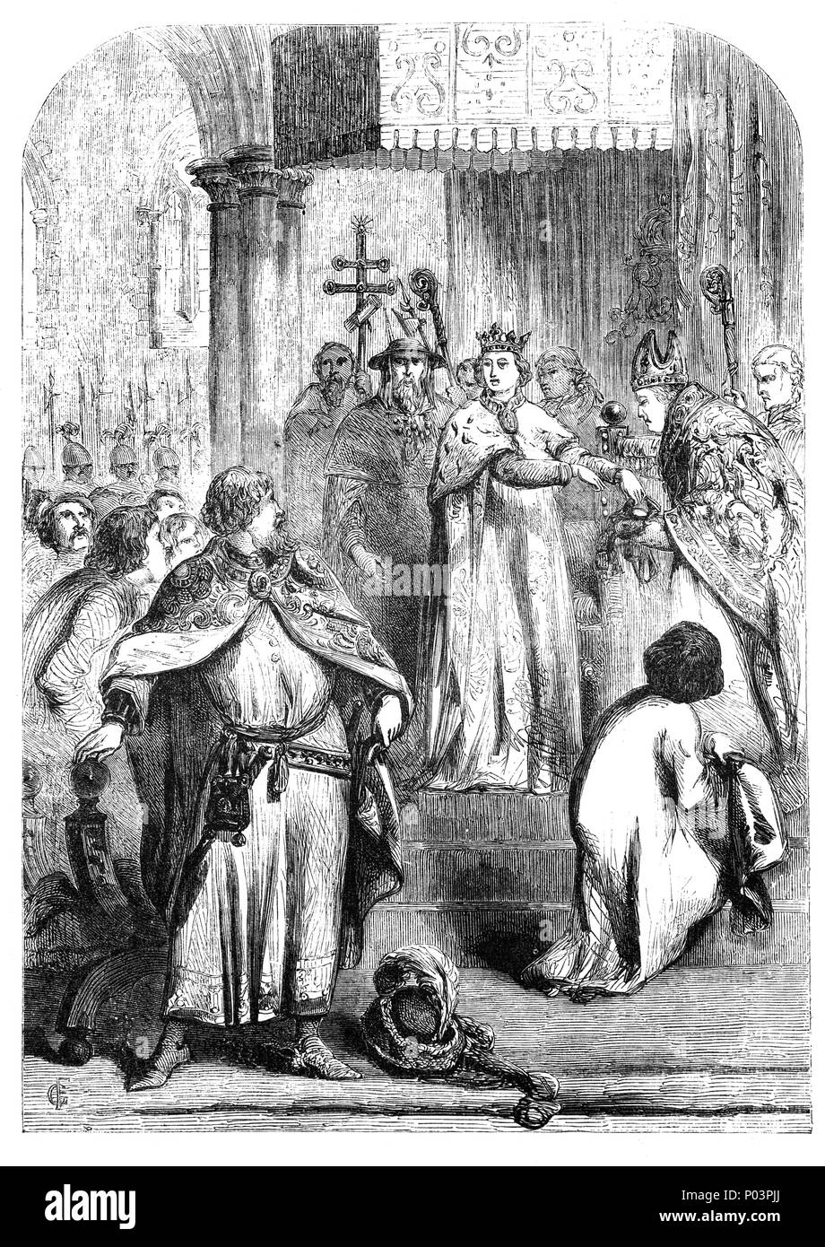 Richard II (1367-1400), King of England over twenty-one years old claimind the right to govern in his own name, and taking control of the government on 3 May 1389. The period was preceded for a time in which Richard's power was revoked and the kingdom placed under the regency of the Lords Appellant.  John of Gaunt returned to England in the same year and settled his differences with the king, after which the old statesman acted as a moderating influence on English politics. - Stock Image