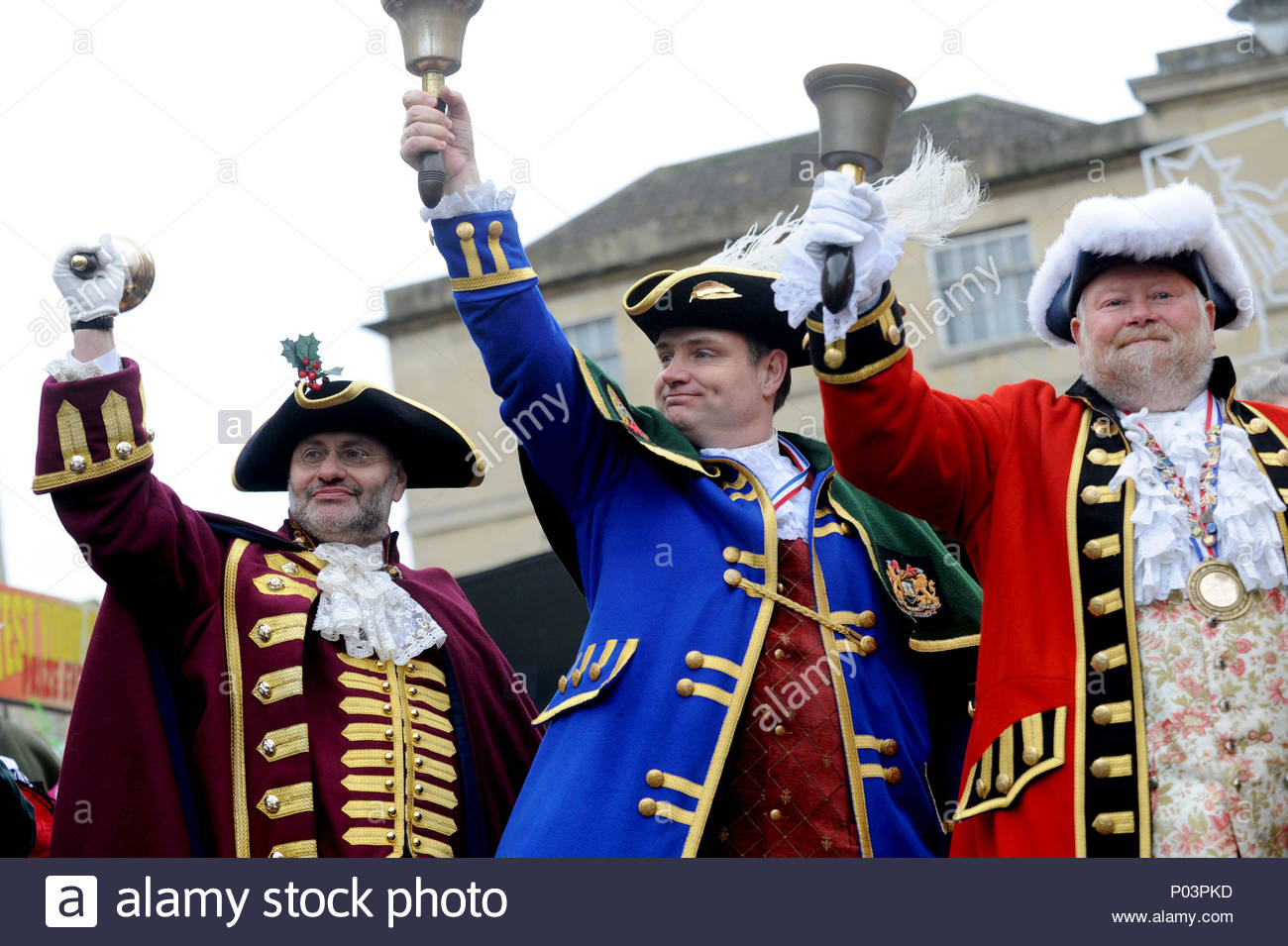 Wiltshire town criers together in Chippenham, Wiltshire, UK Owen Collier (Royal Wootton Bassett Town Crier)  Mark Wylie (Calne Town Crier)  Trevor Hee - Stock Image