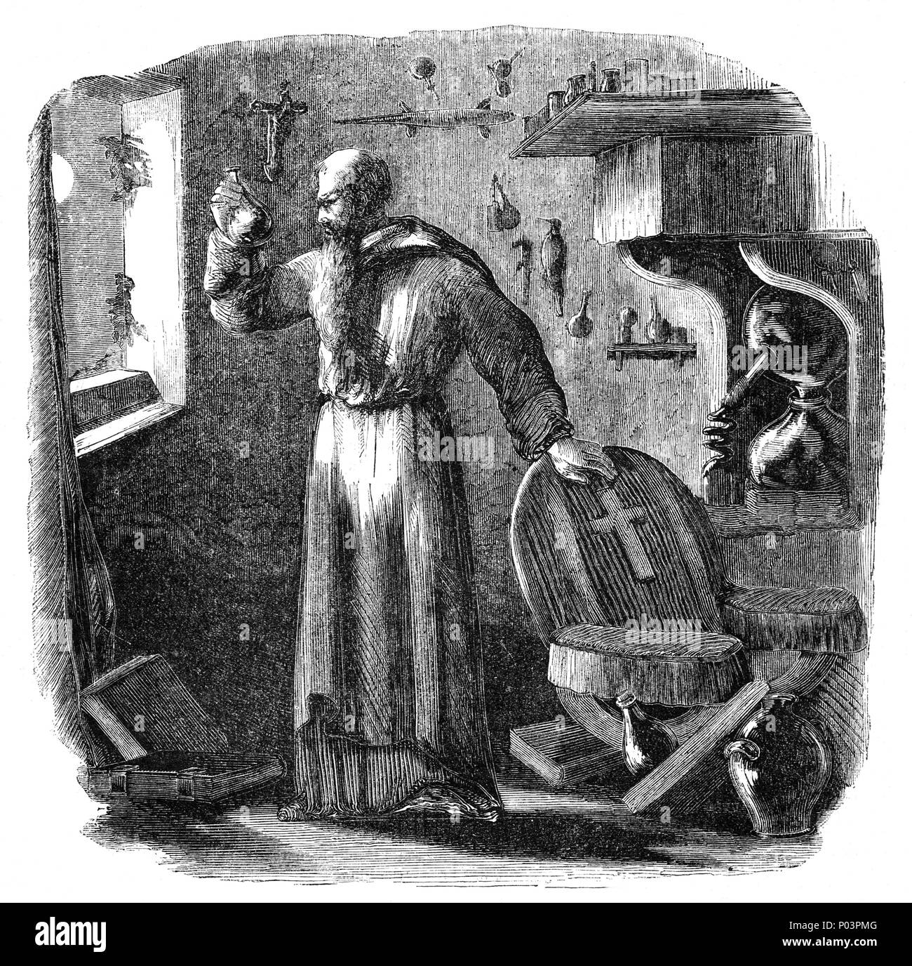 Roger Bacon (1219/20-1292), was an English philosopher and Franciscan friar who studied and later taught at Oxford University and the University of Paris. He had a reputation as an unconventional scholar, pursuing learning in alchemy and magic which earned him the soubriquet 'Doctor Mirabilis'. This led to his rejection from the Franciscans and eventual imprisonment. Bacon investigated optics and the refraction of light through lenses, leading to the development of spectacles. He sought reform of the calendar and was interested in astronomy. - Stock Image