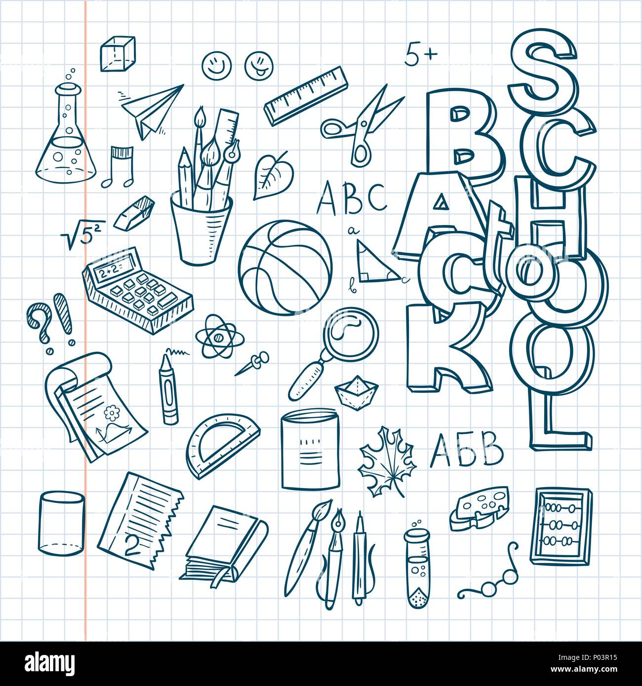 Hand Draw School Supplies Doodles Cut Out Stock Images