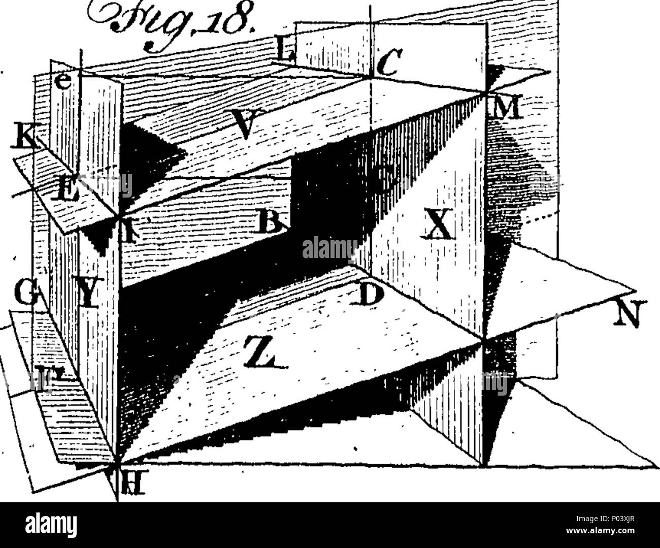 . English: Fleuron from book: A compleat treatise on perspective, in theory and practice; on the principles of Dr. Brook Taylor. Made Clear, by Various Moveable Schemes, and Diagrams, in the Most Intelligent Manner. In four books. Embellished with an Elegant Frontispiece and Forty-Eight Plates. Containing Diagrams, Views, and Original Designs, in Architecture, &c. By the Author; Elegantly Engraved. Book I. Treats on Optics and Vision, a necessary Introduction to the Theory of Perspective; and contains some Objections to the received Opinions of Light and Colour; Reflection, &c. Book II. Contai - Stock Image