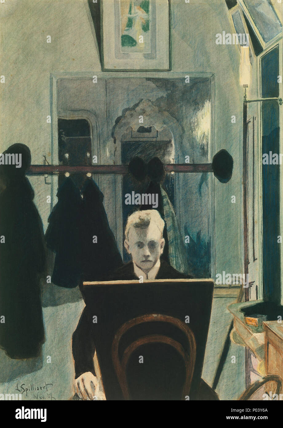 Working Title/Artist: Self-Portrait Department: Modern Art Culture/Period/Location:  HB/TOA Date Code: 11 Working Date: 1907 photography by mma 1980, transparency #2b scanned and retouched by film and media (jn) 8 2 04 67 Léon Spilliaert - Self Portrait - Met - 1980.208 - Stock Image