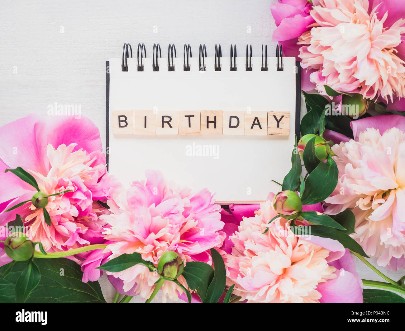 Blank Notebook Page With Birthday Greetings On The Background Of The