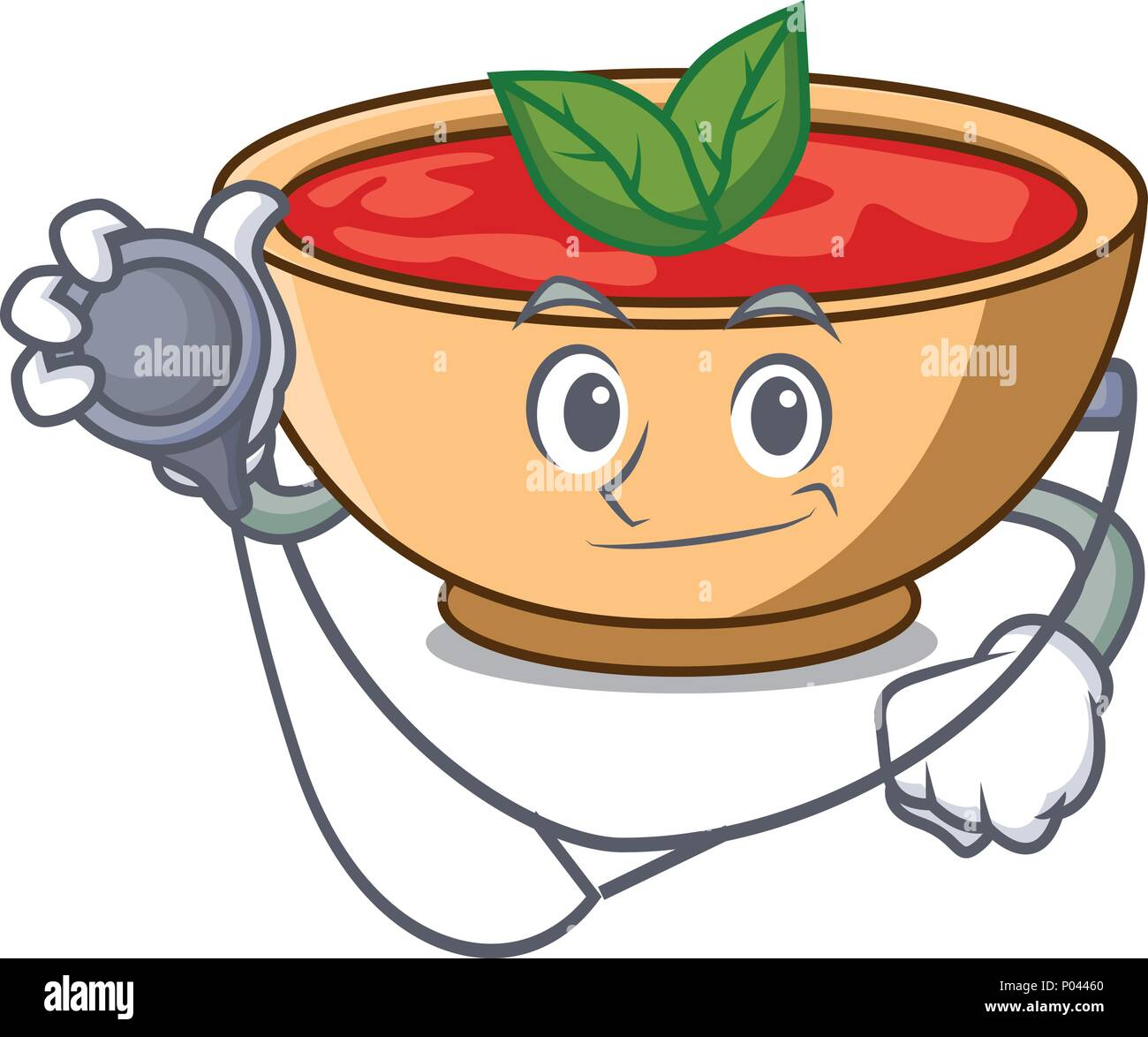 Doctor tomato soup character cartoon - Stock Vector