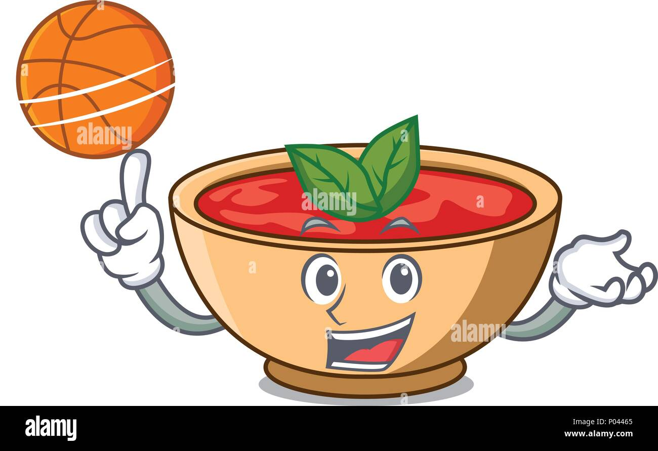 With basketball tomato soup character cartoon - Stock Vector