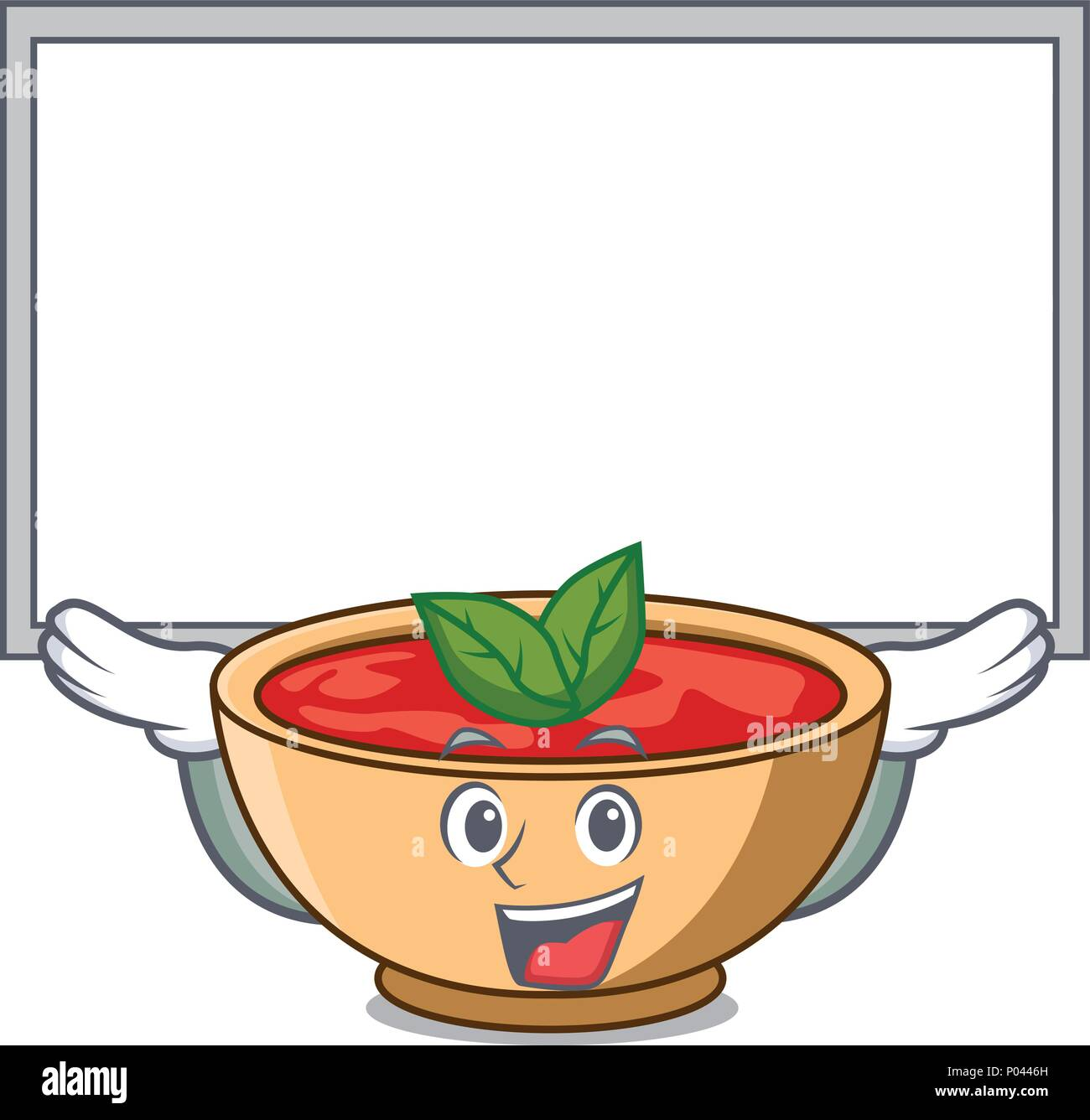 Up board tomato soup character cartoon - Stock Vector