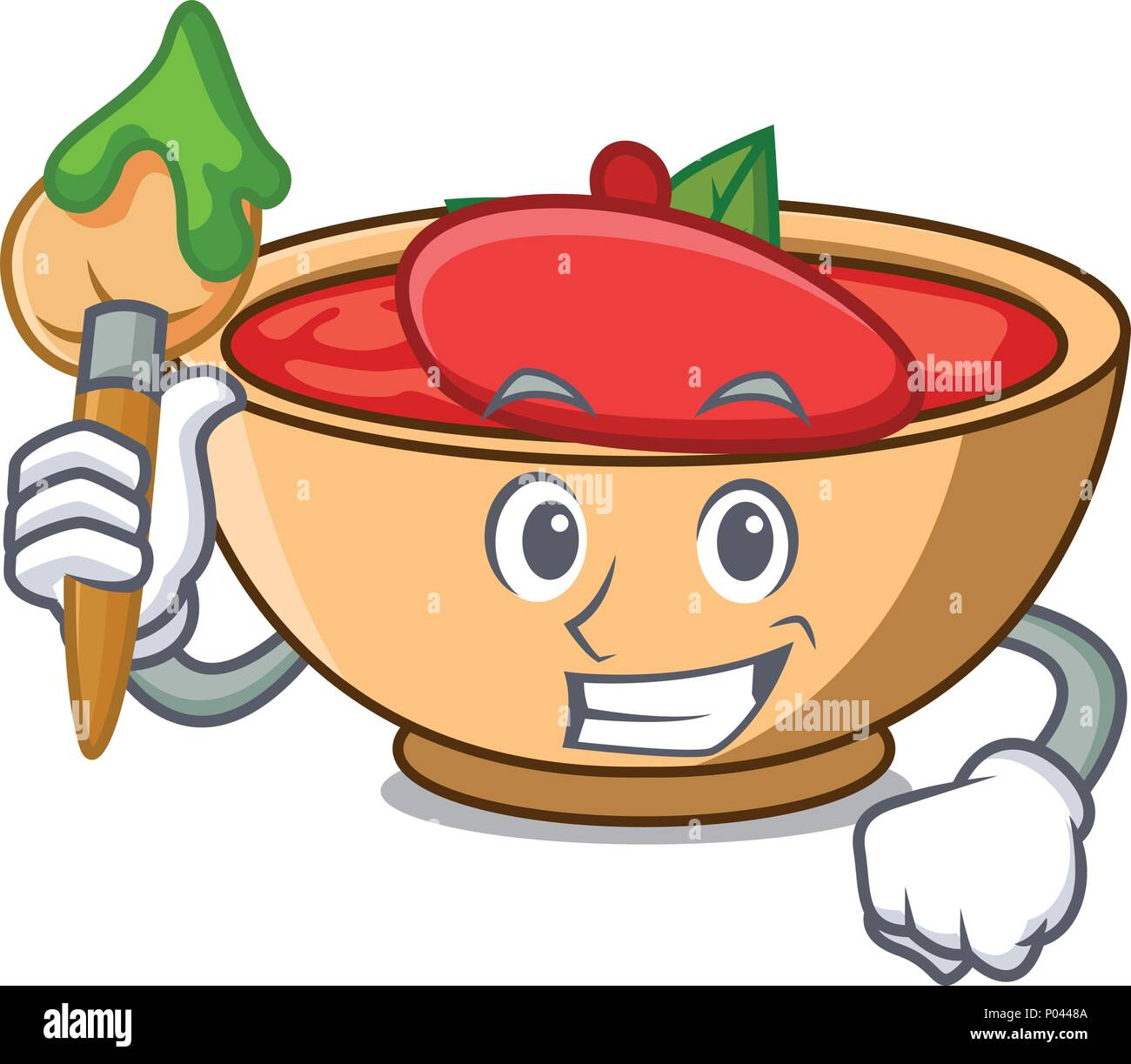Artist tomato soup character cartoon - Stock Vector