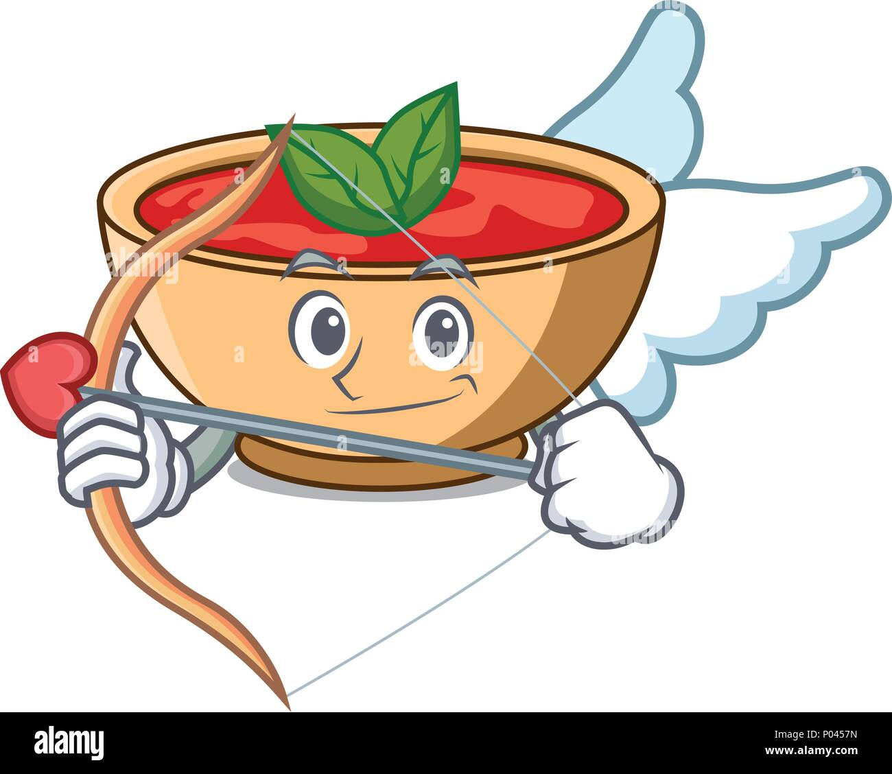 Cupid tomato soup character cartoon - Stock Vector