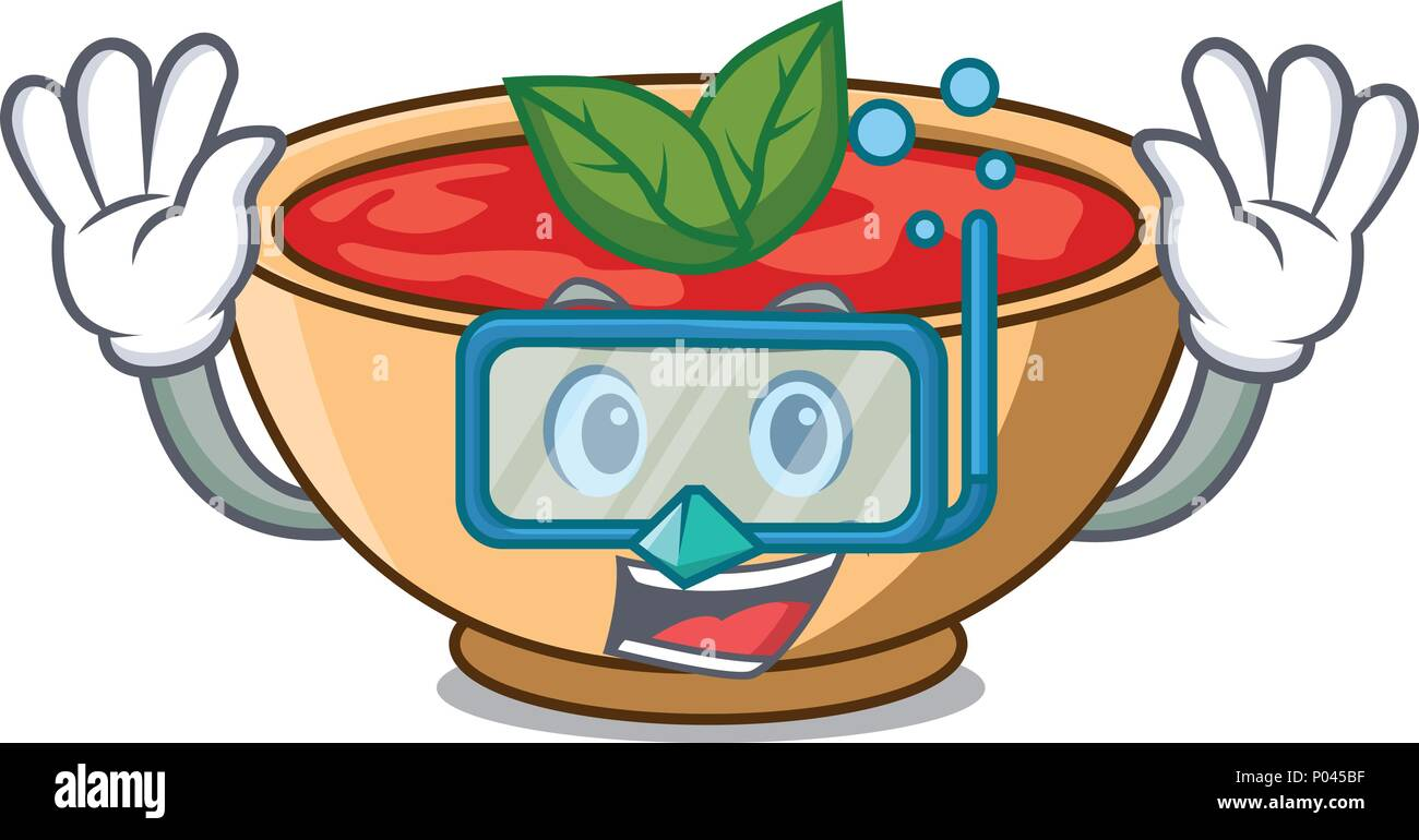 Diving tomato soup character cartoon - Stock Vector