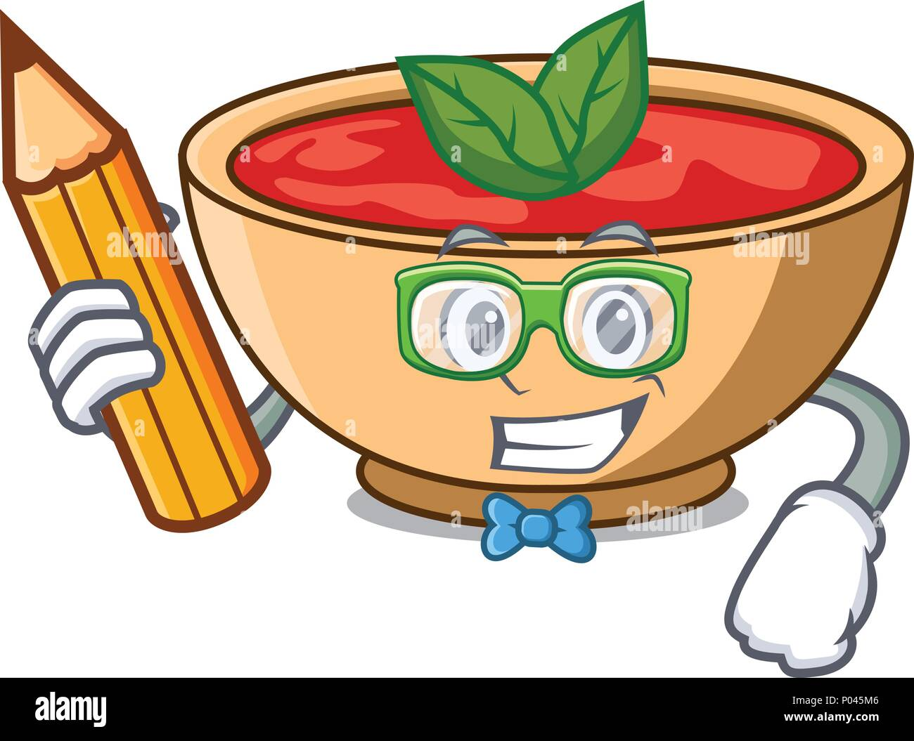 Student tomato soup character cartoon - Stock Vector