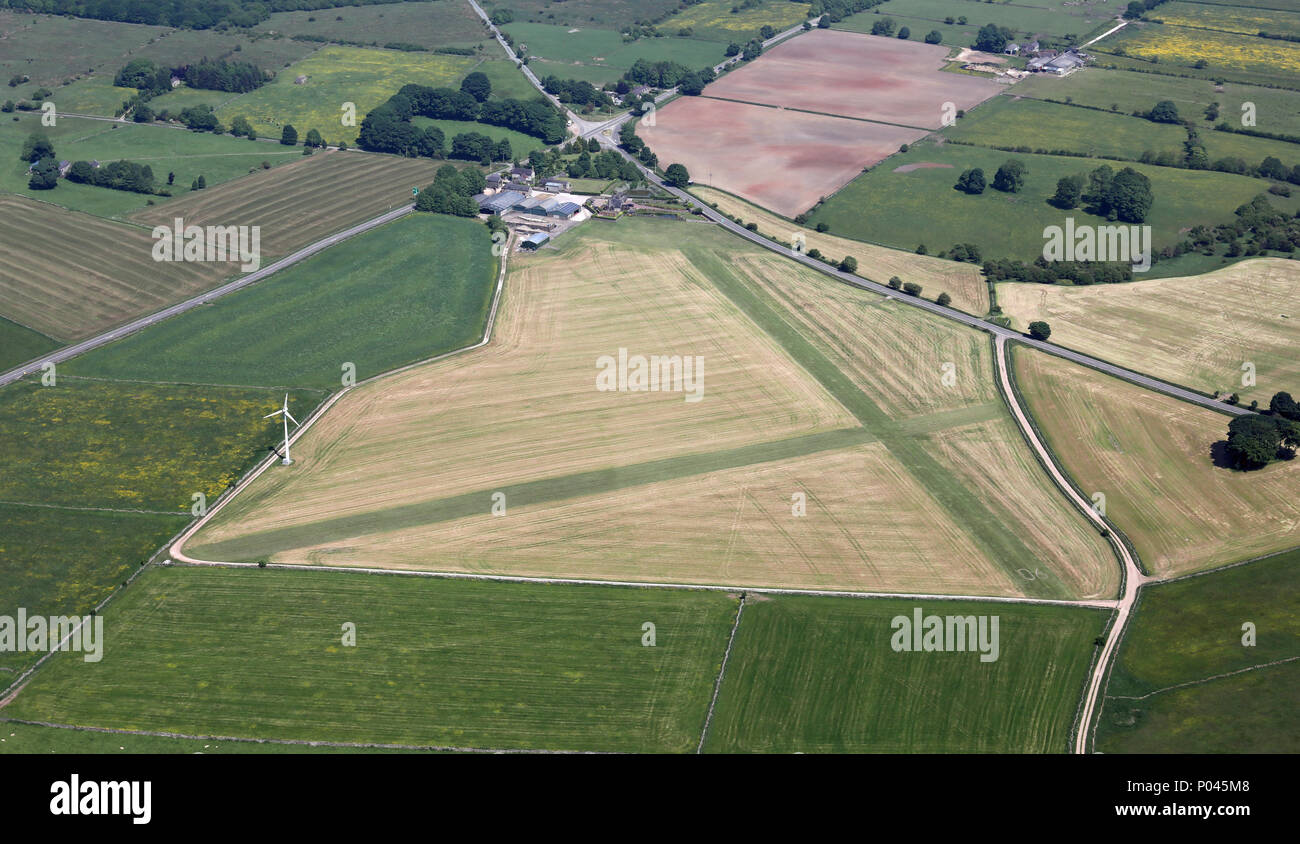 aerial view of a glider site on the Pennines, UK - Stock Image