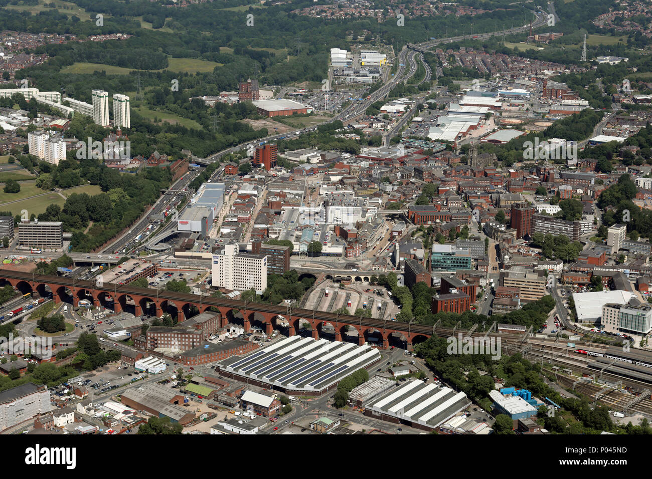 aerial view of Stockport town centre near Manchester, UK - Stock Image