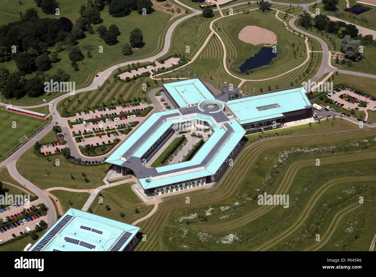 aerial view of St George's Park, England training ground run by the FA - Stock Image