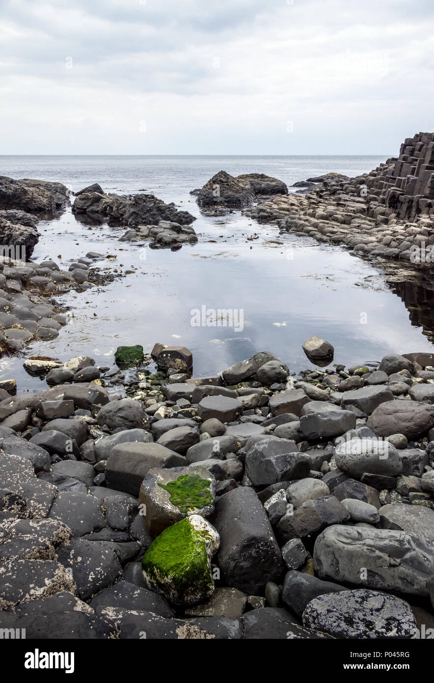 The Giant's Causeway. A popular tourist attraction. - Stock Image
