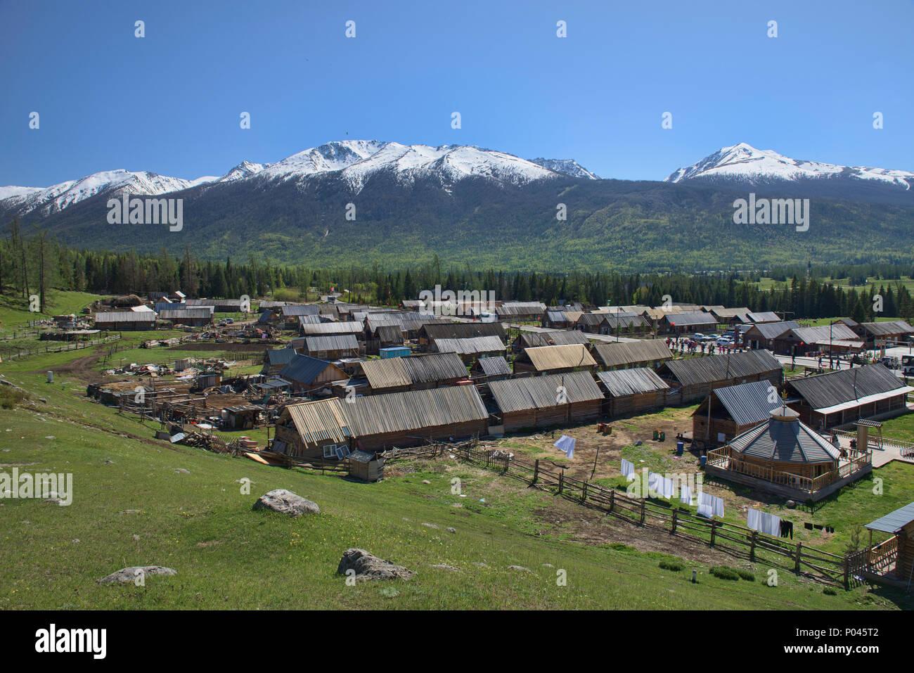 Tuvan village, Kanas Lake National Park, Xinjiang, China Stock Photo