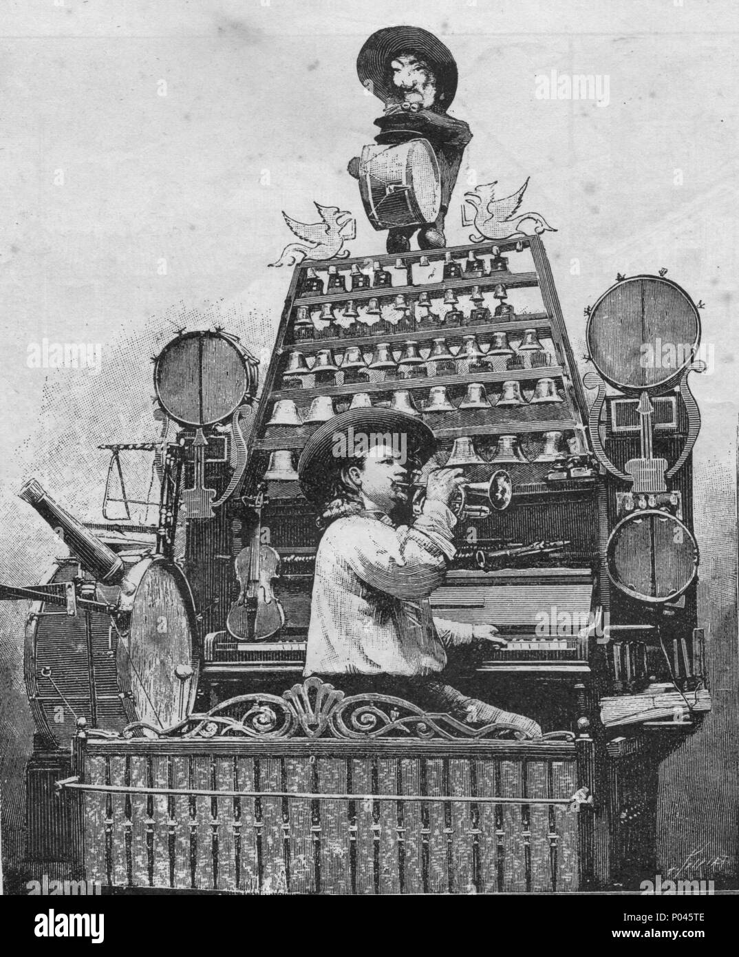 One man orchestra. Vintage engraved illustration. Published in magazine in 1900. - Stock Image