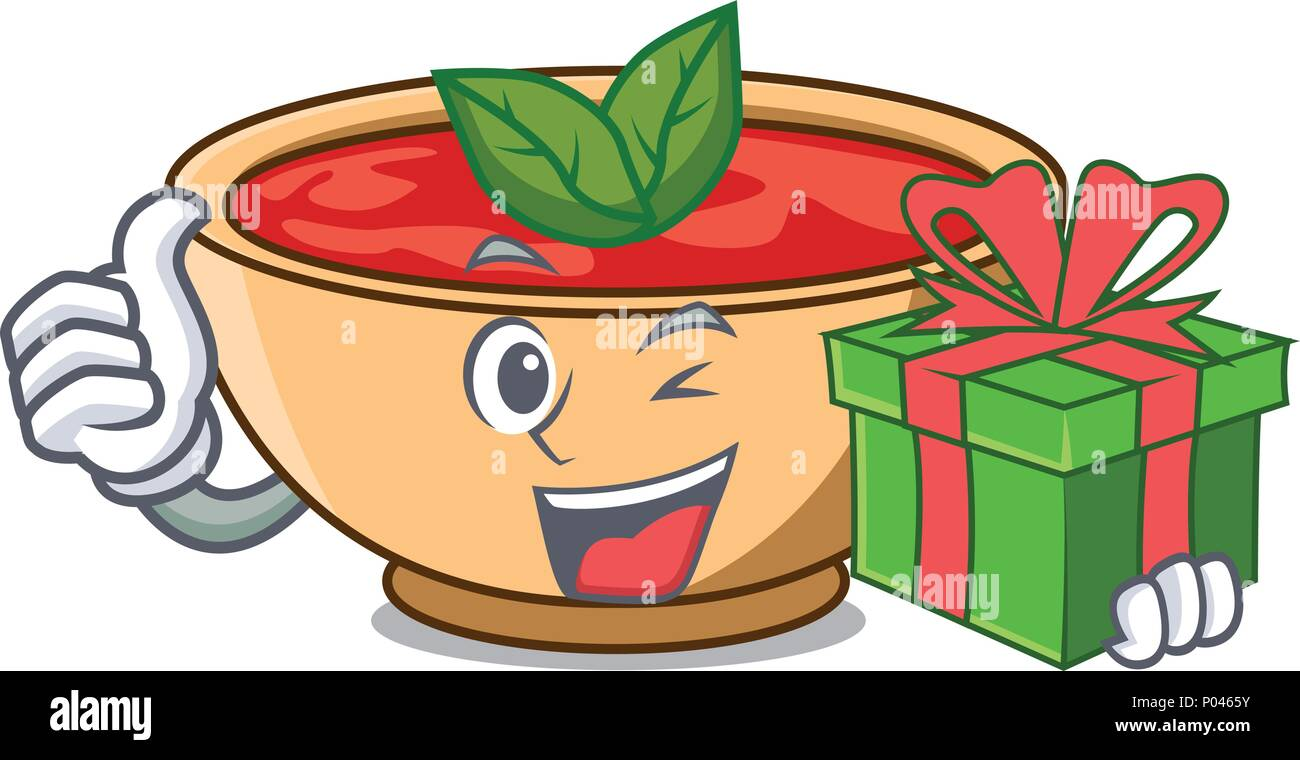 With gift tomato soup character cartoon - Stock Vector