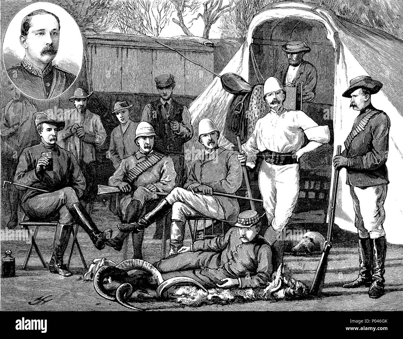 The rebellion in the Transvaal, Sir W. Owen Lanyon, British administrator and his official staff. Colonel Sir William Owen Lanyon KCMG CB, 1842 - 1887, was a British colonial administrator and British Army officer, digital improved reproduction of an original print from the year 1881 - Stock Image
