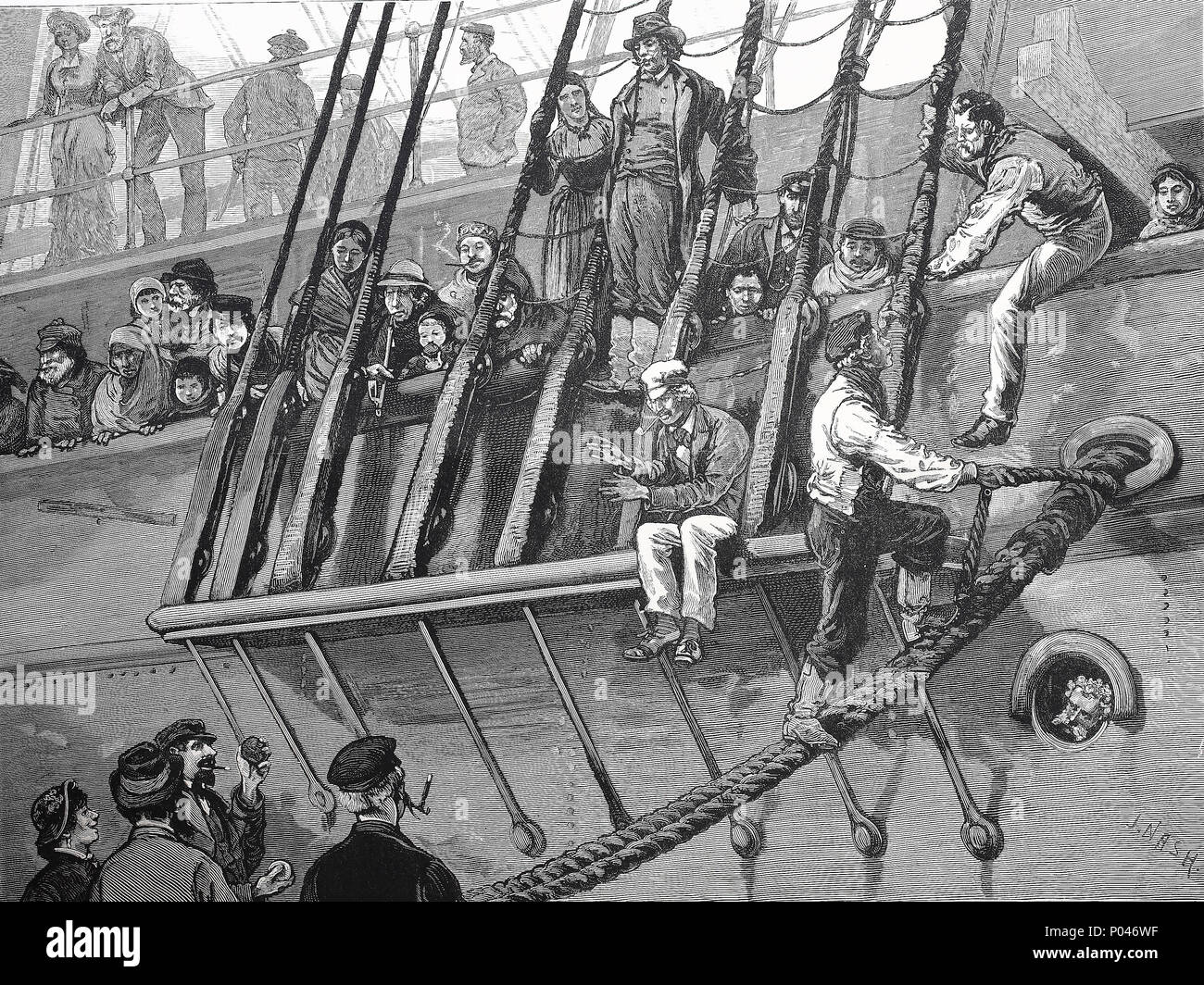 a german emigrant ship in Southhampton dock, England, digital improved reproduction of an original print from the year 1881 - Stock Image