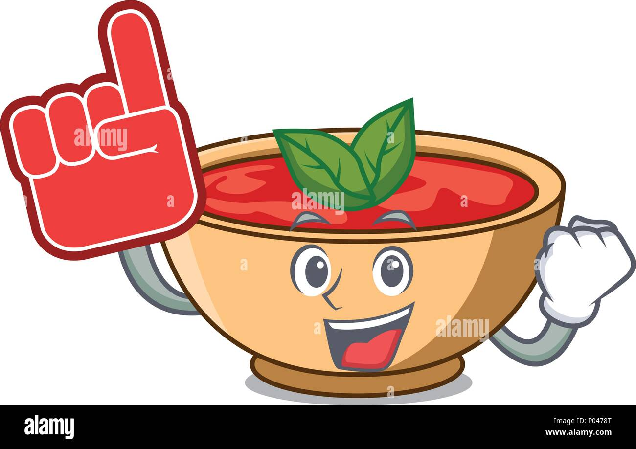 Foam finger tomato soup character cartoon - Stock Vector
