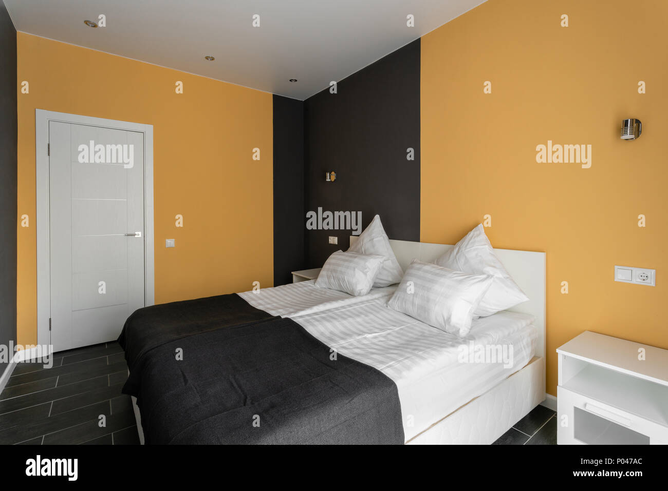 Daylight Morning Hotel Standart Room Modern Bedroom With White Pillows Simple And Stylish Interior Stock Photo Alamy