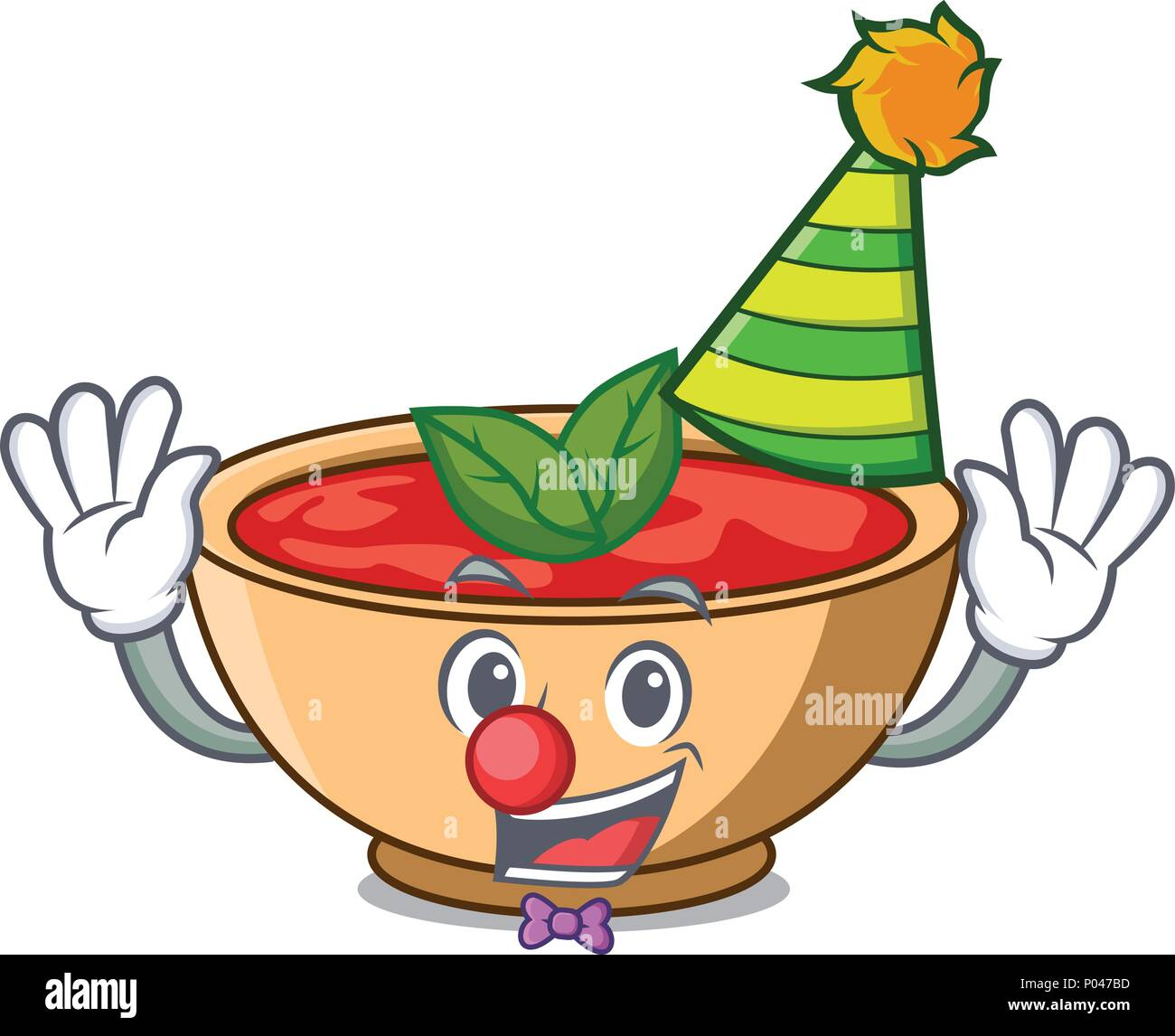 Clown tomato soup character cartoon - Stock Vector