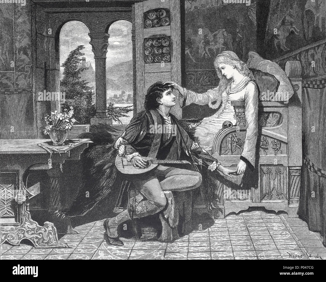 For ever lasting love, couple in love, digital improved reproduction of an original print from the year 1881 - Stock Image