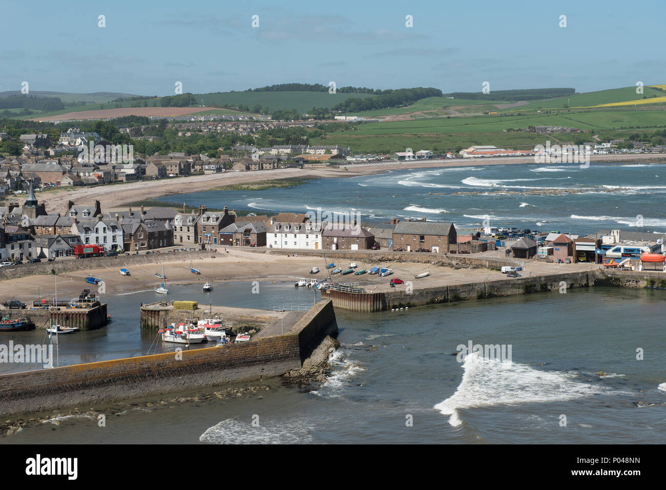 Stonehaven harbour and bay, Stonehaven, Aberdeenshire, Scotland. - Stock Image