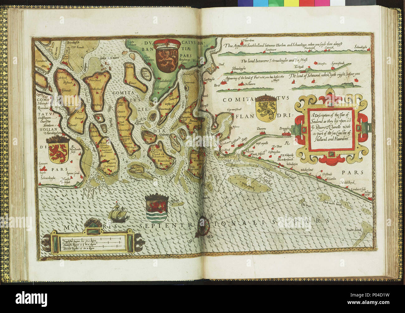 .  English: A description of the Isles of Sealand as they lie upon all ye rivers & channells with a part of the sea coast of Holland and FlaundersBound sheet. Hand coloured engraving. Scale: [circa 1:400,000 (bar)]. North at 232 degrees. The bar scales are in English, Spanish and Dutch leagues. Additional Places: Schelde. The chart contains four coastal profiles, shows beacons and buoys and is decorated with one ship. A chart from Anthony Ashley's English edition of 'The Mariners Mirrour'. Lord Howard of Effingham ordered Waghenaer's sea atlas 'De Spieghel der Zeevaerdt' to be translated. It w - Stock Image