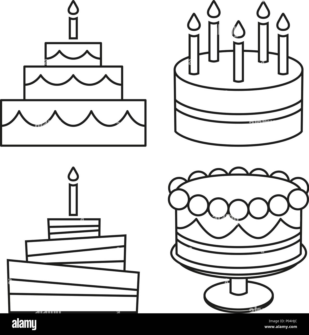 Pleasing Line Art Black And White Birthday Cake Set Stock Vector Art Funny Birthday Cards Online Alyptdamsfinfo