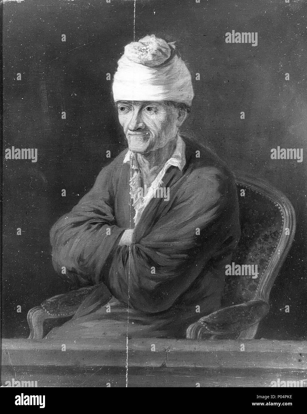 . English: Nicolas de Fassin, Portrait of Voltaire wearing a cotton night cap, ca 1770 (wherabouts unknown)  . 7 June 2004, 12:06:35. Nicolas Henri Joseph de Fassin (1728-1811) 17 Nicolas de Fassin, Portrait de Voltaire en bonnet de coton, ca 1770 - Stock Image